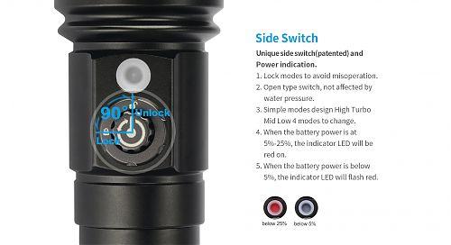 Подводный фонарь  XTAR D26-L2 Whale XM-L2 U3(комплект)  Управление режимами магнитной кнопкой. 1100 лм. Индикатор заряда