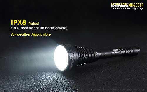 Супер дальнобойный фонарь Nitecore MH40GTR  дальность 1км!! Встроенное зарядное устройство, аккумуляторы в комплекте