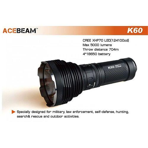 Дальнобойный поисковый фонарь Acebeam K60  Супермощный фонарь. 5000 лм.,дальность 700 м.