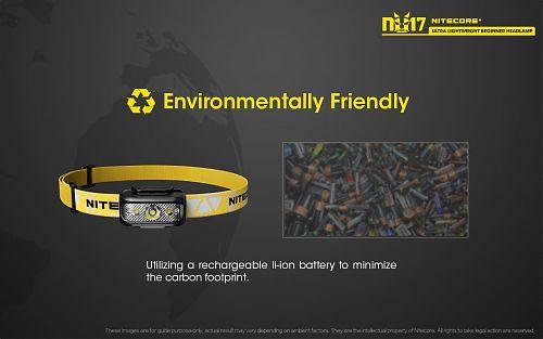 Налобный фонарь Nitecore NU17 с доп красным светом   6 часов работы в режиме 130 лм. USB зарядка,