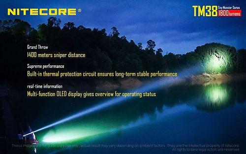Дальность 1400 метров.4 часа работы на максимальном режиме 1800 лм.
